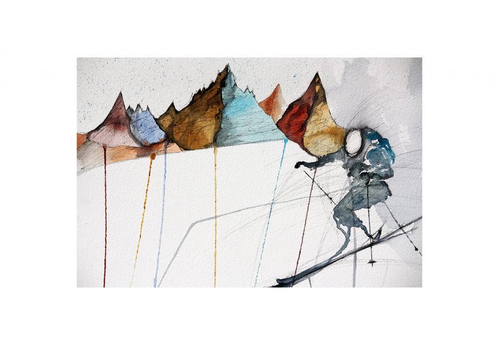 esquiador saltando y montañas