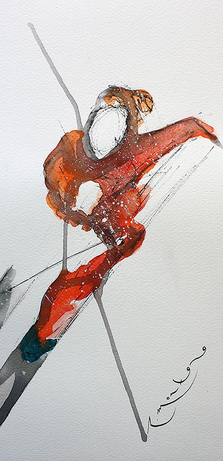 esquiador en rojos