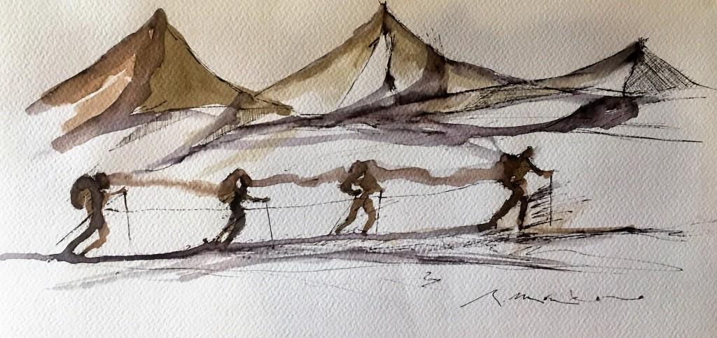 la cordada en el glaciar